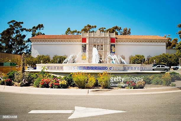 panoramic view of a fountain outside a building, plaza de panama fountain, balboa park, san diego, california, usa - balboa park stock photos and pictures