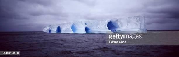 Panoramic view of a giant iceberg in the south Atlantic Antarctic Ocean.
