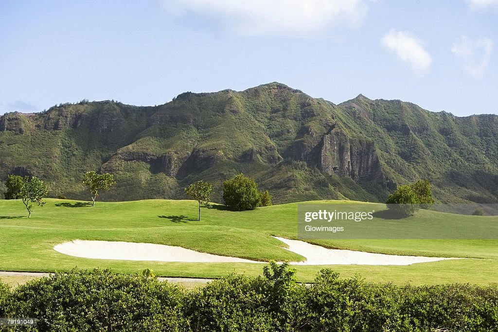 Panoramic view of a golf course : Foto de stock