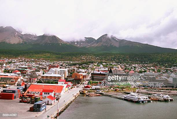 Panoramic view of a harbor, Ushuaia, Argentina