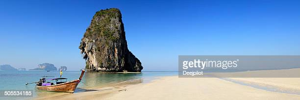 Panoramic View of a Longtail Boat on Railay Beach Thailand