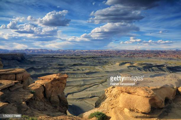 panoramic view of a lunar landscape in a desert mountaineous area - rainer grosskopf stock pictures, royalty-free photos & images