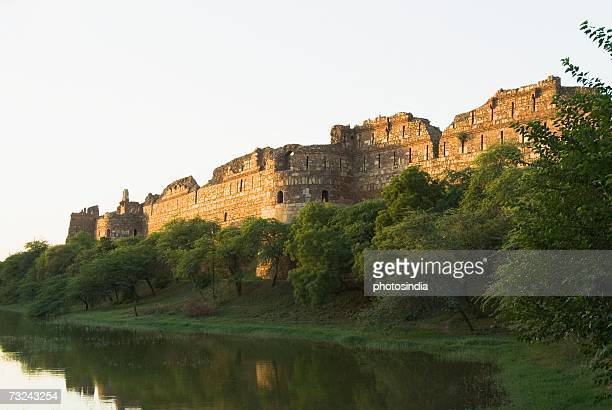 Panoramic view of a moat outside a fort, Old Fort, New Delhi, India