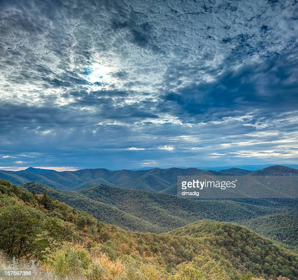 panoramic view of a mountain range and the sky - skyline drive virginia stock photos and pictures