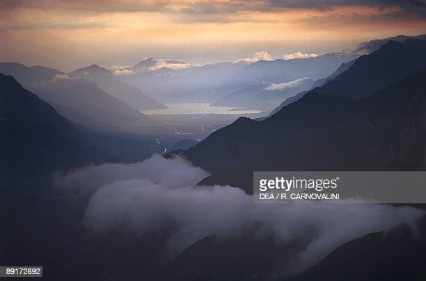 Panoramic view of a mountain range Camonica Valley Orobie Alps Lombardy Italy