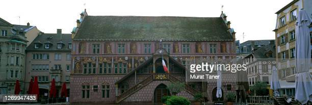 panoramic view of a town hall in mulhouse - ミュールーズ ストックフォトと画像