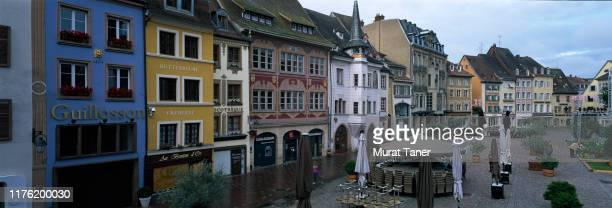 panoramic view of a town square in mulhouse - ミュールーズ ストックフォトと画像
