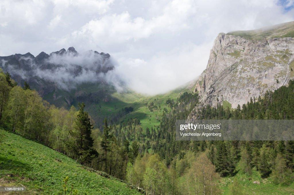 Panoramic view of Acheshbok Pass, Adygea, Caucasus Mountains : Stock Photo