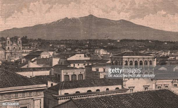 Panoramic view of Acireale with Mount Etna in the background Sicily Italy woodcut from Le cento citta d'Italia illustrated monthly supplement of Il...