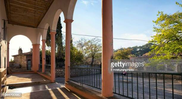 panoramic view of adatepe mosque courtyard in ayvacik. - emreturanphoto stock pictures, royalty-free photos & images