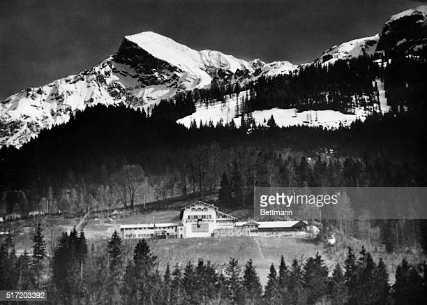 Panoramic view of Adolf Hitler's home in Berchtesgaden with the High Guell in background