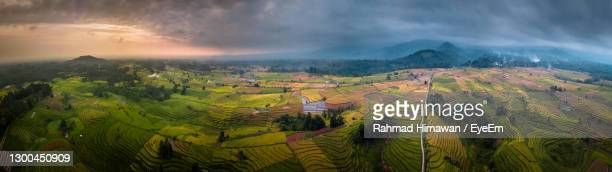 panoramic view of agricultural landscape against sky - rahmad himawan stock pictures, royalty-free photos & images