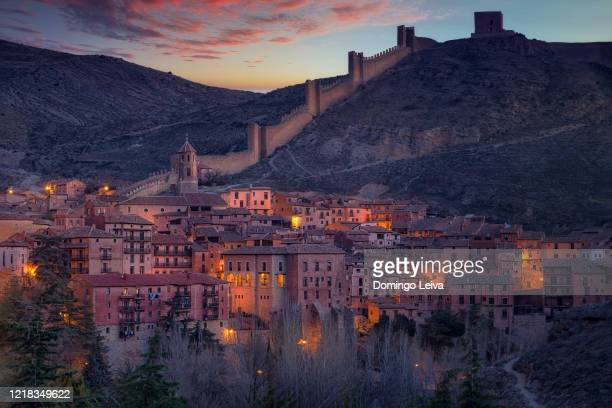 panoramic view of albarracin, teruel province, spain - aragon stock pictures, royalty-free photos & images