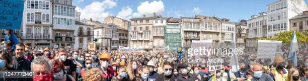 Panoramic view of Alcoa workers demonstrating in the streets of Viveiro on June 7, 2020 in Viveiro, Lugo, Spain. Alcoa workers are once again taking...