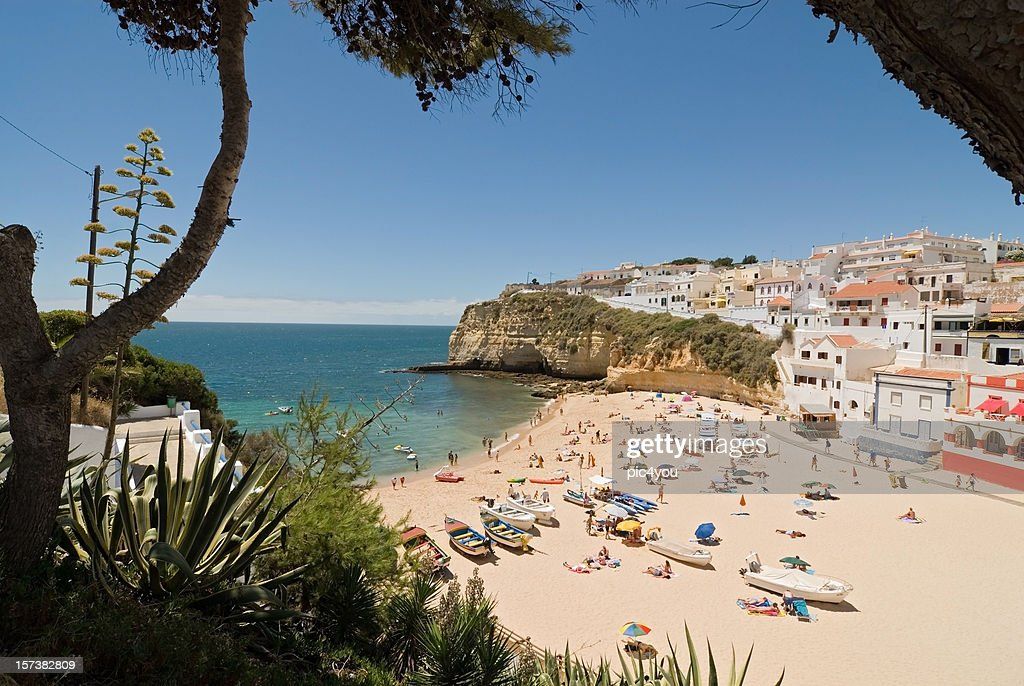 Panoramic view of Algarve overlooking a beach on a sunny day : Stock Photo
