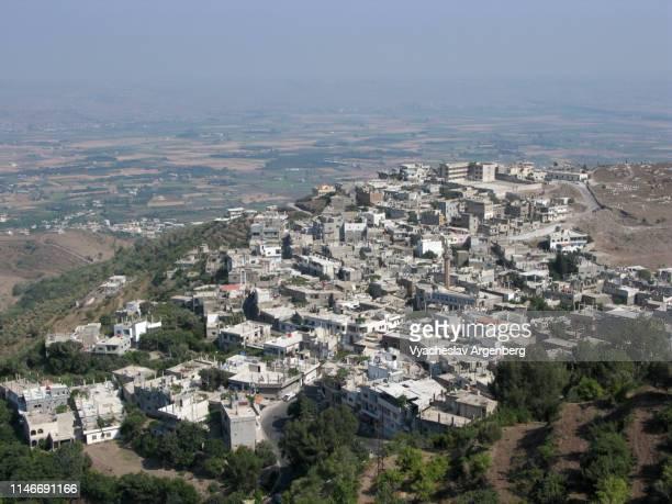 panoramic view of al-husn village, syria - argenberg stock-fotos und bilder