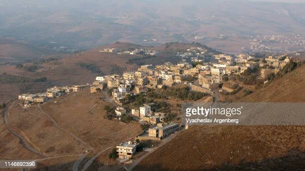 panoramic view of al-husn village, syria - argenberg - fotografias e filmes do acervo