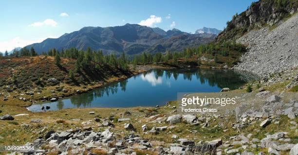 Panoramic View of Alpine Lake Lago di Agro, Bognanco Valley