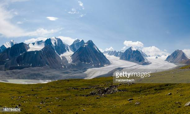 Panoramic view of Altai Mountains and glaciers