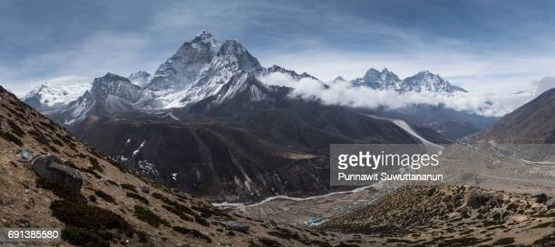 Panoramic view of Ama Dablam mountain from Dingboche view point, Everest region, Nepal