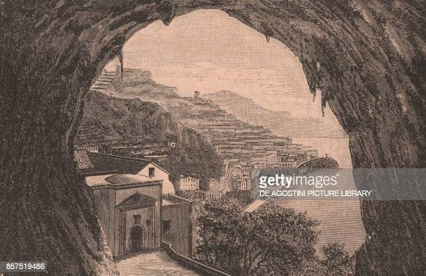 Panoramic view of Amalfi from the Grotto of St Christopher Amalfi Campania Italy woodcut from Le Cento citta d'Italia illustrated monthly supplement...