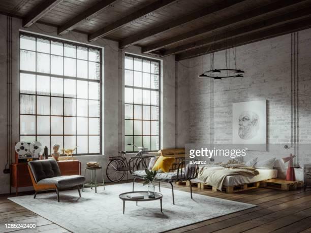 vista panoramica di un loft appartamento in stile industriale new york - loft foto e immagini stock