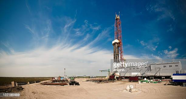 Panoramic view of an oil drilling rig