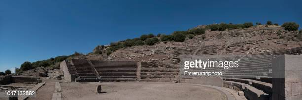 Panoramic view of ancient Assos amphiteater.