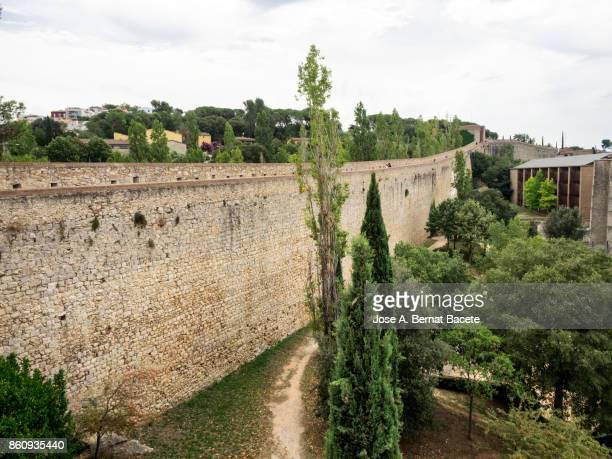 Panoramic view of ancient city walls of Girona , Catalonia, Spain