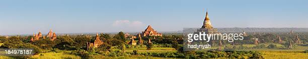 panoramic view of ancient temples in bagan 170mpix xxxxl size - ancient civilization stock photos and pictures