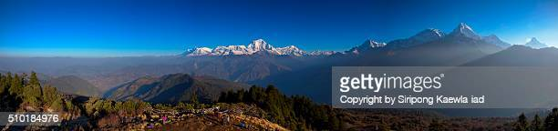 Panoramic view of Annapurna mountain range from Poon Hill viewpoint