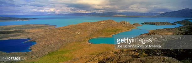 Panoramic view of Argentina's largest lake Lago Argentino in Parque Nacional Las Glaciares near El Calafate Patagonia Argentina