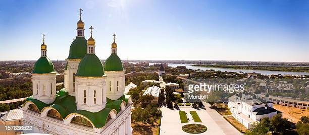 panoramic view of astrakhan city, russia - volga stock pictures, royalty-free photos & images