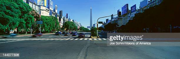 Panoramic view of Avenida 9 de Julio widest avenue in the world and El Obelisco The Obelisk Buenos Aires Argentina