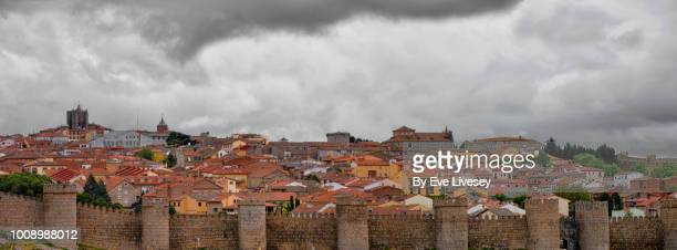 panoramic view of avila city - avila stock photos and pictures