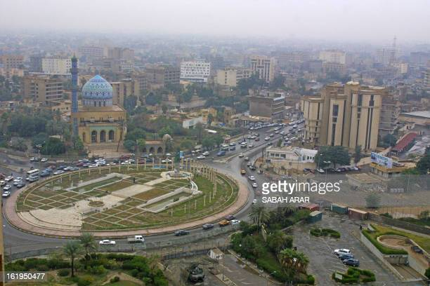 A panoramic view of Baghdad shows alFardus square 29 November 2003 where Saddam Hussein's huge statue was pulled down by USled forces 09 April 2003...