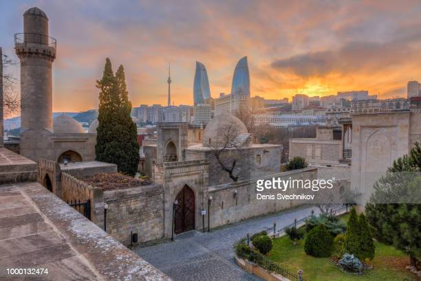 panoramic view of baku city from old fortress - azerbaijan stock pictures, royalty-free photos & images