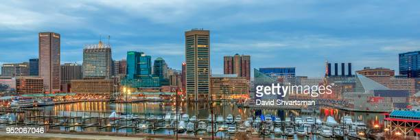 panoramic view of baltimore cityscape - baltimore maryland stock pictures, royalty-free photos & images