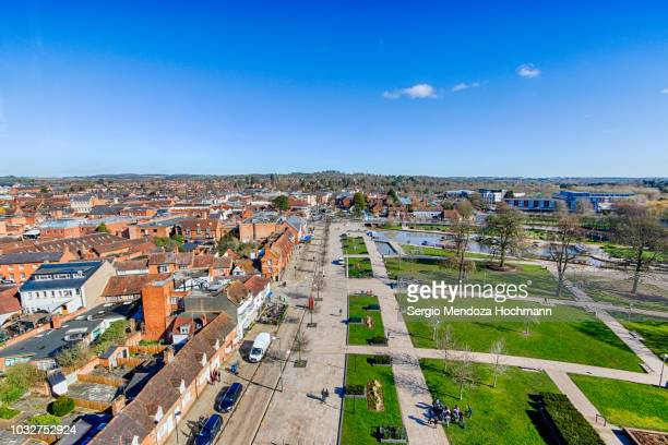 Panoramic view of Bancroft Gardens and Stratford-upon-Avon, England on a clear day
