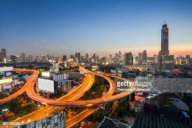Panoramic view of Bangkok downtown, Thailand in the morning