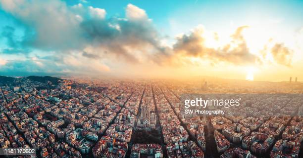 panoramic view of barcelona cityscape and sagrada fimiliar - barcelona spain stock pictures, royalty-free photos & images