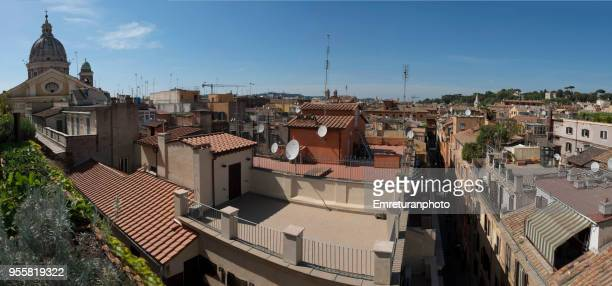 panoramic view of basilica di giacomo in augusta and roofs in rome. - emreturanphoto stock pictures, royalty-free photos & images
