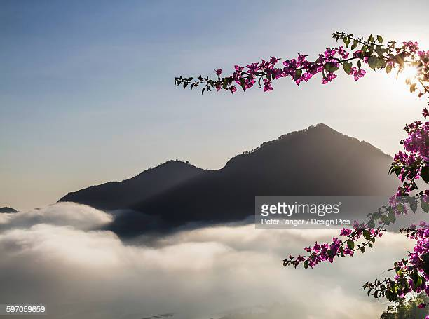 panoramic view of batur lake and mount agung at sunrise from kintamani, bali, indonesia - kintamani district stock pictures, royalty-free photos & images