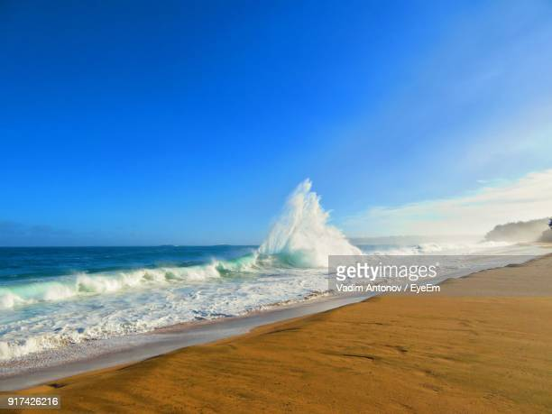 panoramic view of beach against blue sky - antonov stock pictures, royalty-free photos & images