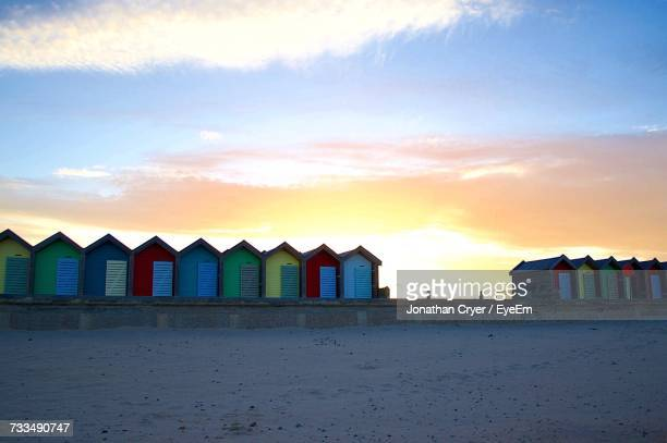 panoramic view of beach against sky during sunset - blyth northumberland stock pictures, royalty-free photos & images