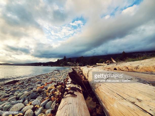 panoramic view of beach against sky - nathaniel woods stock pictures, royalty-free photos & images