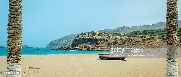 panoramic view of beach and sea against clear sky - algeria stock pictures, royalty-free photos & images