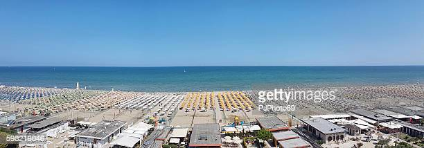 Panoramic view of beach in Cervia - Italy