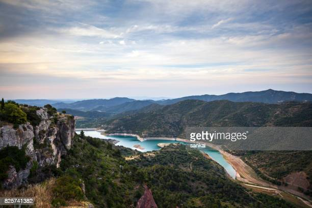 panoramic view of beautiful valley in mountains. siurana, catalonia, spain. - tarragona stock photos and pictures