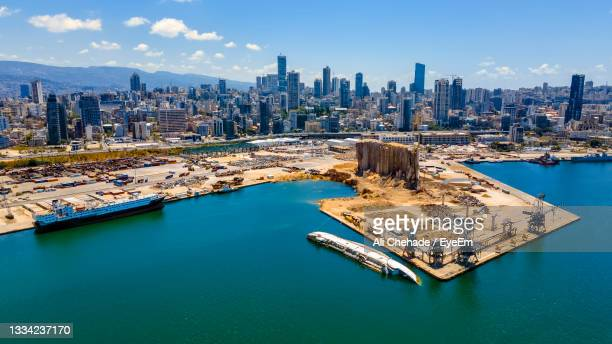 a panoramic view of beirut's port where the august 4 massive blast happened. - beirut stock pictures, royalty-free photos & images